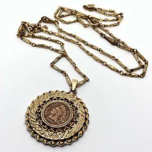 🆕Vintage Gold Indian Head Penny Necklace